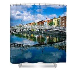 Hapenny Bridge, River Liffey, Dublin Shower Curtain by The Irish Image Collection