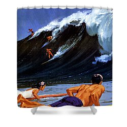 Hawaii Vintage Travel Poster Restored Shower Curtain