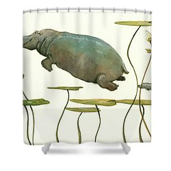 Hippo Mom With Baby Shower Curtain