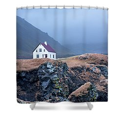 House On Ocean Cliff In Iceland Shower Curtain