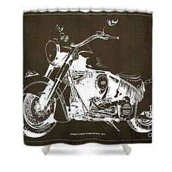 Indian Chief Dark Horse 2012 Blueprint Shower Curtain
