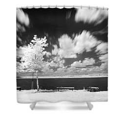 Shower Curtain featuring the photograph Infrared Landscape by Odon Czintos