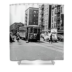 Shower Curtain featuring the photograph Inwood Trolley  by Cole Thompson