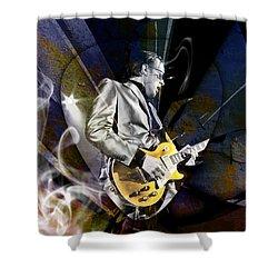 Joe Bonamassa Blue Guitarist Art Shower Curtain by Marvin Blaine
