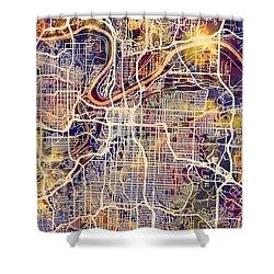 Kansas City Missouri City Map Shower Curtain