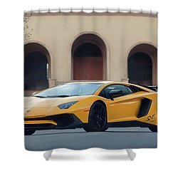 Shower Curtain featuring the photograph #lamborghini #aventadorsv #superveloce #print by ItzKirb Photography