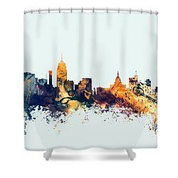 Lansing Michigan Skyline Shower Curtain