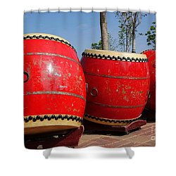 Large Chinese Drums Shower Curtain by Yali Shi