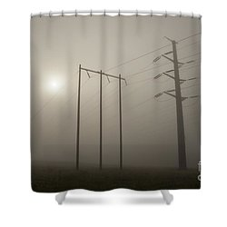 Large Transmission Towers In Fog Shower Curtain