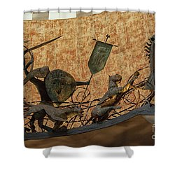 Shower Curtain featuring the photograph Lighthouse Hotel, Galle Sri Lanka. Entrance With Sinhalese Warri by Patricia Hofmeester