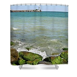 Lighthouse In Sea Shower Curtain by Irina Afonskaya