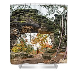 Shower Curtain featuring the photograph Little Pravcice Gate - Famous Natural Sandstone Arch by Michal Boubin