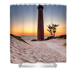 Shower Curtain featuring the photograph Little Sable Point Light Station by Larry Carr