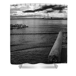 Mackinac Bridge - Infrared 01 Shower Curtain