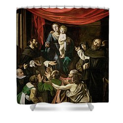 Madonna Of The Rosary Shower Curtain by Caravaggio
