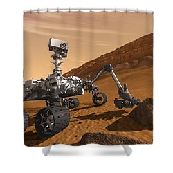 Mars Rover Curiosity, Artists Rendering Shower Curtain by NASA/Science Source