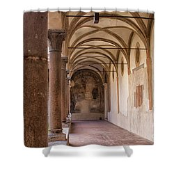 Shower Curtain featuring the photograph Medieval Hallway Of Italian Cloister by Patricia Hofmeester