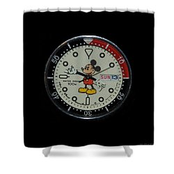 Mickey Mouse Watch Face Shower Curtain by Rob Hans