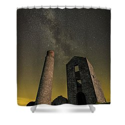 Milky Way Over Old Mine Buildings. Shower Curtain