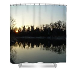 Shower Curtain featuring the photograph Mississippi River Sunrise Reflection by Kent Lorentzen