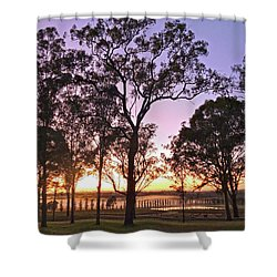 Misty Rural Scene With Dam And Trees Shower Curtain