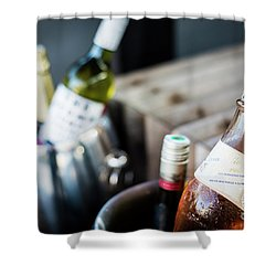 Mixed Bottles Of Gourmet Wine In Ice Chiller Bucket Shower Curtain