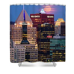 Shower Curtain featuring the photograph Moon Over Pittsburgh 2 by Emmanuel Panagiotakis