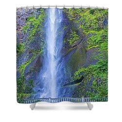 Shower Curtain featuring the photograph Multnomah Falls Bridge by Jonny D