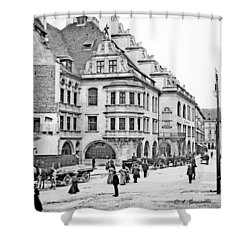 Shower Curtain featuring the photograph Munich Germany Street Scene 1903 Vintage Photograph by A Gurmankin