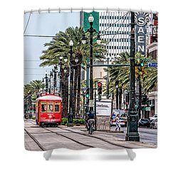 Shower Curtain featuring the photograph New Orleans Canal Street Streetcars by Andy Crawford