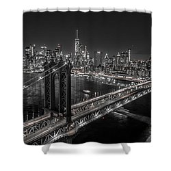 New York City, Manhattan Bridge At Night Shower Curtain