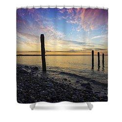 Ocean Sunset Shower Curtain by Ian Mitchell