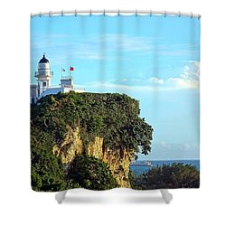 Shower Curtain featuring the photograph Old Lighthouse Overlooking Kaohsiung Harbor by Yali Shi