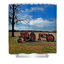 2 Old Tractors And The Tree Shower Curtain by Michael Thomas