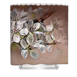 Shower Curtain featuring the painting Oriental Pear Blossom by Bonnie Willis