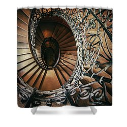 Shower Curtain featuring the photograph Ornamented Spiral Staircase by Jaroslaw Blaminsky