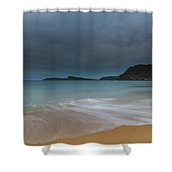 Overcast Cloudy Sunrise Seascape Shower Curtain