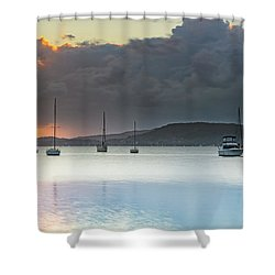 Overcast Sunrise Waterscape Shower Curtain