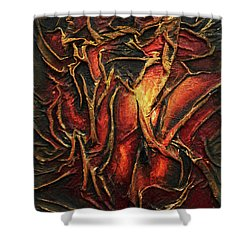 Shower Curtain featuring the mixed media Passion by Angela Stout