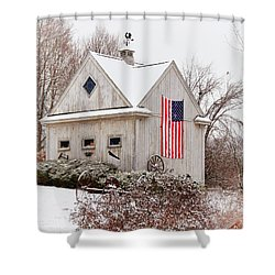 Patriotic Barn Shower Curtain by Tricia Marchlik