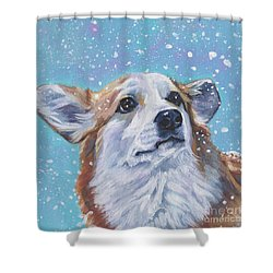 Shower Curtain featuring the painting Pembroke Welsh Corgi by Lee Ann Shepard