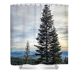 2 Pine Trees Shower Curtain