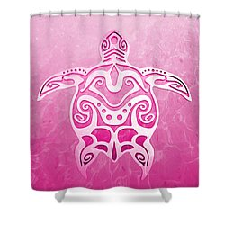 Pink Tribal Turtle Shower Curtain
