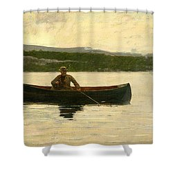 Shower Curtain featuring the painting Playing A Fish by Winslow Homer