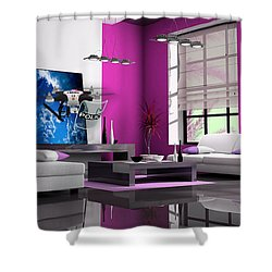 Police Drone Art Shower Curtain by Marvin Blaine
