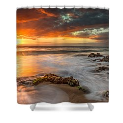 Poolenalena Sunset Shower Curtain by James Roemmling