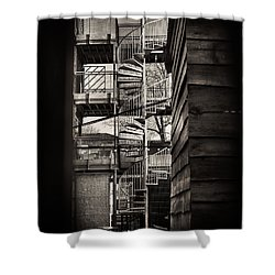 Pop Brixton - Spiral Staircase - Industrial Style Shower Curtain