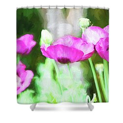 Shower Curtain featuring the painting Poppies by Bonnie Bruno