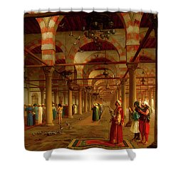 Shower Curtain featuring the painting Prayer In The Mosque by Jean-Leon Gerome