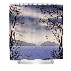 Shower Curtain featuring the painting Quiet Shore by James Williamson